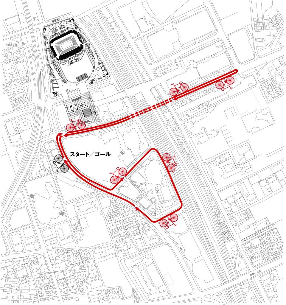 予定されているさいたま新都心周辺周回コース図。